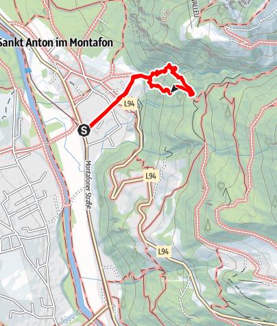 Karte / Klettersteig Wasserfall St. Anton im Montafon