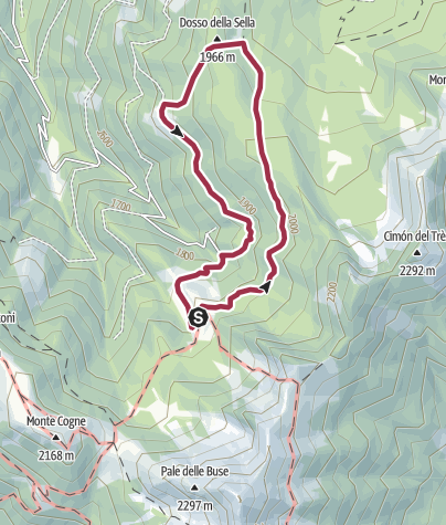 Map / Excursion from Malga Sass to the panoramic point