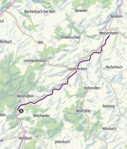 Karte / Glan-Blies-Radweg - Etappe 4 (Ulmet - Meisenheim)
