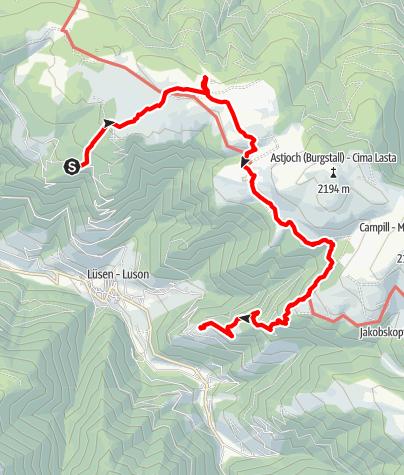 Mapa / Tulpe-Rastnerhütte-Kreuzwiesenhütte-Kompatscherhof