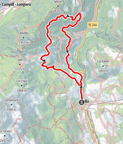 Kaart / Von Badia zu den Weilern Pescol, Grones und Costa