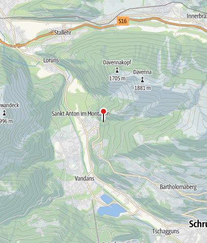 Kaart / Wasserfall St. Anton im Montafon