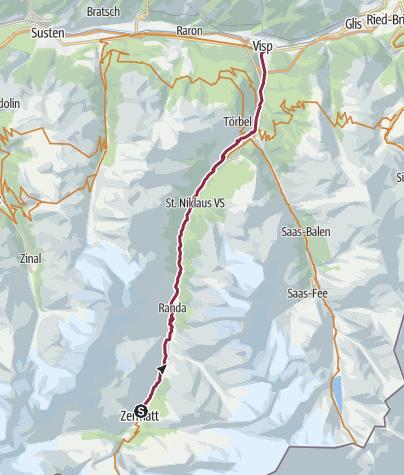 Karte / Bike-Tour Matterhorn Valley Trail (Nr. 20)