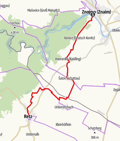 Karte / EV13 Etappe 6: Znaim - Retz