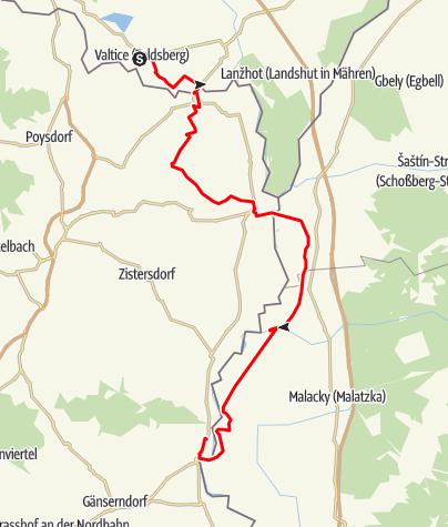 Karte / EV13 Etappe 9: Valtice - Mannersdorf