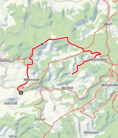 Karte / Von Winkhausen über den Sauerland-Höhenflug nach Nordenau (Wanderbus-Tipp)