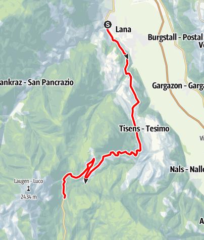 Map / Racing Bike Tour to the Gampenpass Mountain Pass
