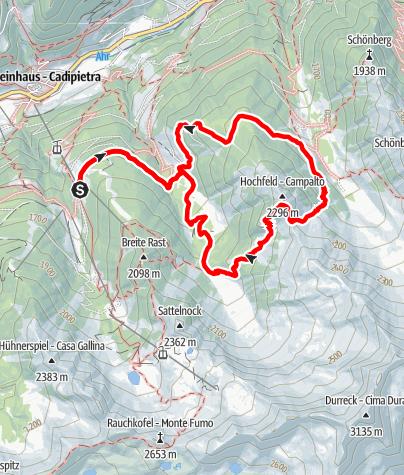 Cartina / Hochfeld 2296m + Bärental 1837m