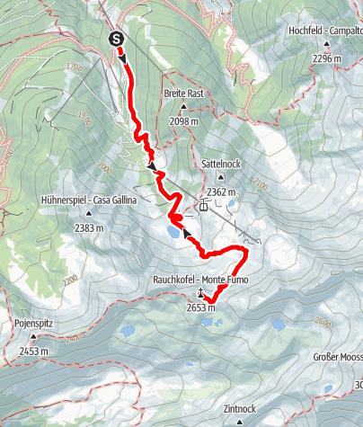 Karte / Bergtour zum Rauchkofel