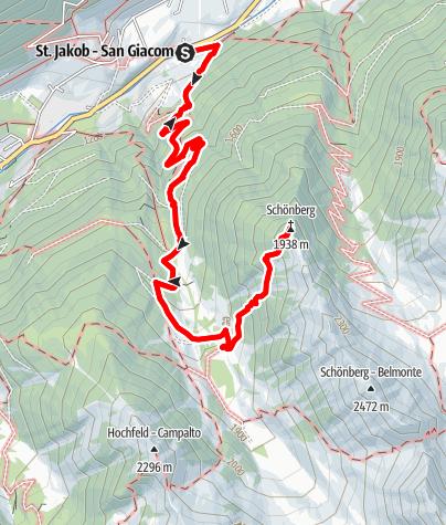 Karte / Bergtour zum Schönberg bei St. Jakob