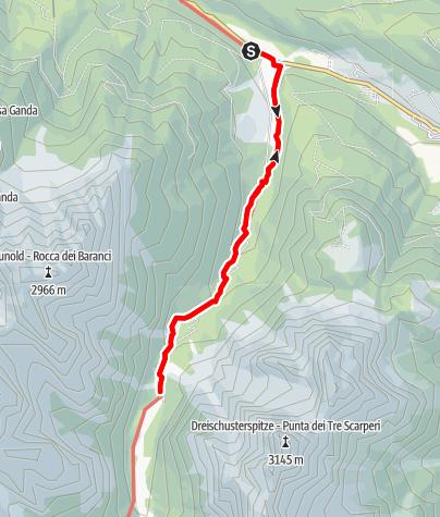 Mapa / Winterwanderung: Innerfeldtal - Drei Schuster Hütte