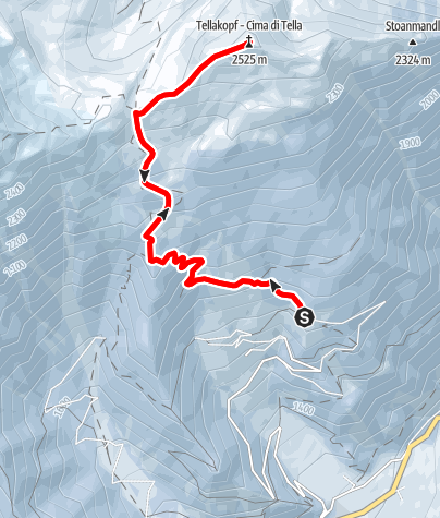 Cartina / Tour di skialpinismo alla cima di Tella