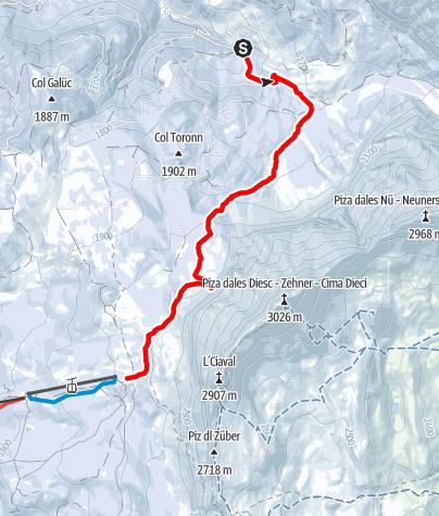 Karte / Schneeschuhwanderung Spëscia - Sas dla Crusc/Heilig Kreuz