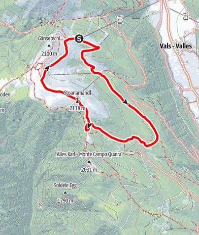 Map / Stoaner Mandl Panoramic Circular Walk a Jochtal Valles/Vals