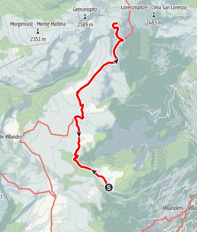 Mapa / Saltnerstein (Gasser Hütte)– Latzfonser Kreuz – Saltnerstein