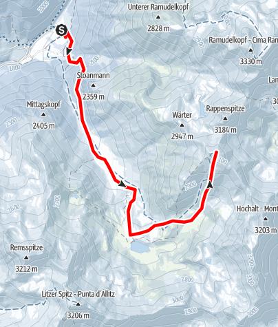 Kaart / Skitour zum Upiakopf
