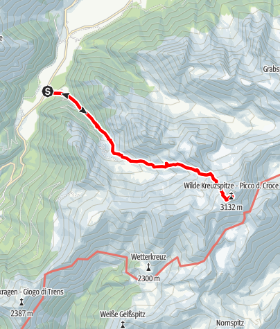 Map / From Pfitsch to the Wilde Kreuzspitze summit