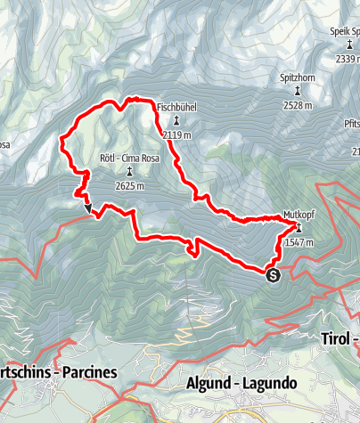 Map / Alpine Tour to the Spronser Seen Lakes