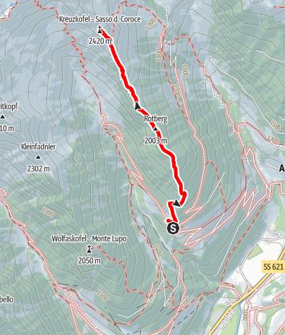 Mapa / Bergtour zum Kreuzkofel