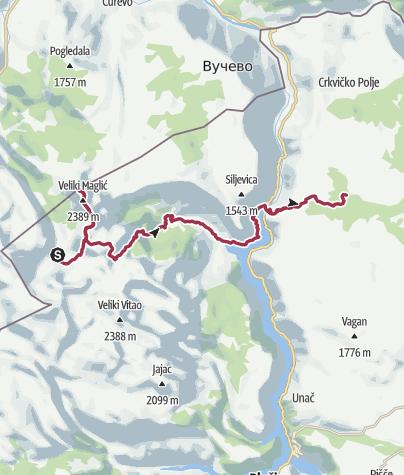 Map /  Via Dinarica BH/CG-W-01 Maglić to Pivska mounatin via Piva Canyon