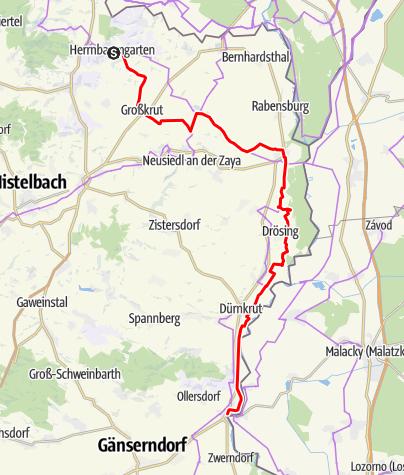 Karte / KTM Etappe 8: Herrnbaumgarten  – Angern