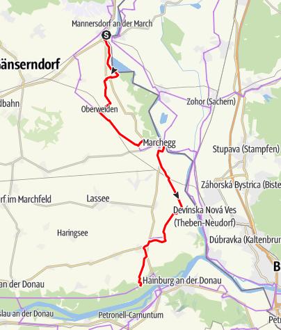 Karte / KTM Etappe 9: Angern – Hainburg