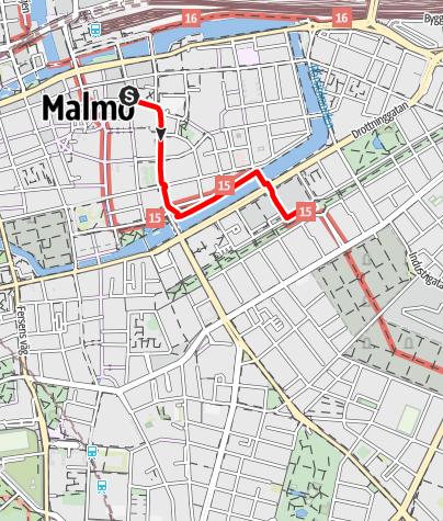 Karta / Barmhärtighetens väg (Birgittavägen) Sankt Petri kyrka - Sankt Pauli kyrka i Malmö