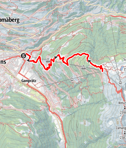 Map / Schruns über Kropfen und Waldweg bis Kapell