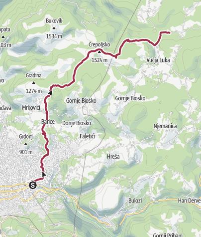 Map / Hiking from Sarajevo to Vucja Luka