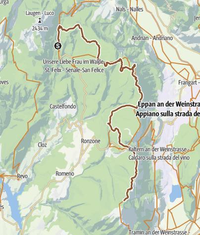 Cartina / Tour de Non MTB Experience: Tappa 02 Senale - Malga di Romeno