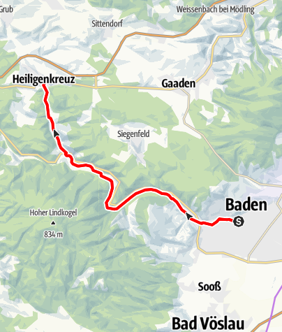 Karte / Wald- & Wiesen Tour im Helenental für Kulturaffine