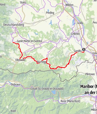 Karte / Weinland Steiermark Radtour Variante Südsteiermark