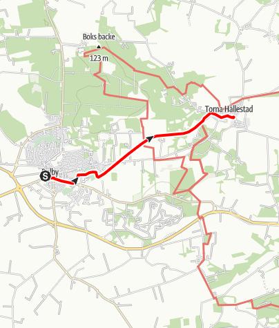 Karta / Sankt Olofsleden, Heligkorskyrkan i Dalby - Torna Hällestads kyrka