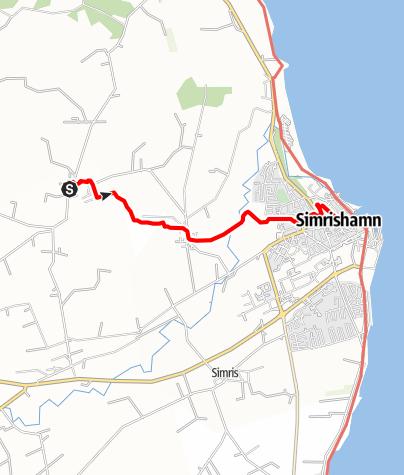 Karta / Sankt Olofsleden, Sankt Jacobs kyrka i Gladsax - Sankt Nicolais kyrka i Simrishamn