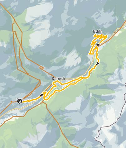 Karte / Mountainbike Tour von Sent nach Tschlin und wieder zurück