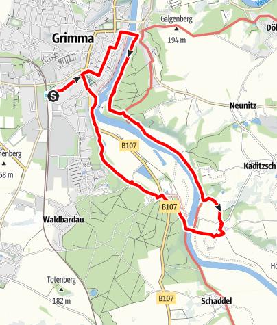 Karte / Rundwanderung von Grimma zum Urlaubsdorf Höfgen