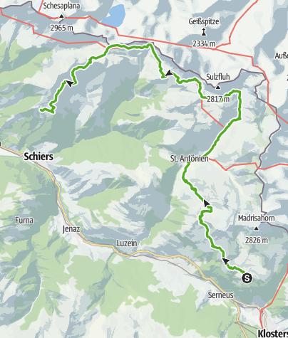 Karte / Prättigauer Höhenweg: in 3 Tagen von Klosters nach Fanas (3 Etappen)