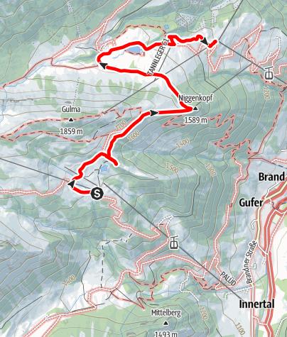 Karte / Tierwelten-Weg   Brandnertal