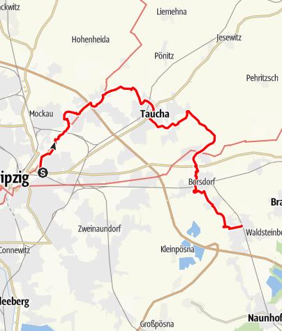 Karte / Parthe-Wanderweg von Leipzig nach Beucha