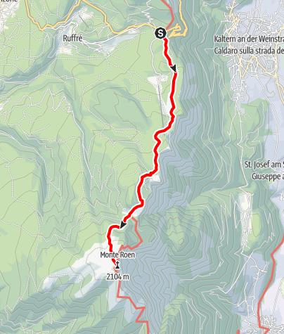 Kaart / Wanderung vom Mendelpass zum Roen