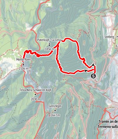 Mapa / Wanderung von Tramin zur Roen Spitze