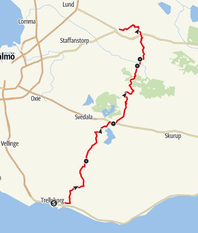 Map / Mariavägen, från Trelleborg till Dalby