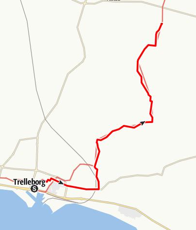Karta / Mariavägen, Sankta Katarina klosterruin, Sankt Nicolai kyrka i Trelleborg - Fru Alstad kyrka