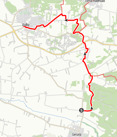 Karta / Mariavägen, Gödelövs kyrka - Heligkorskyrkan i Dalby