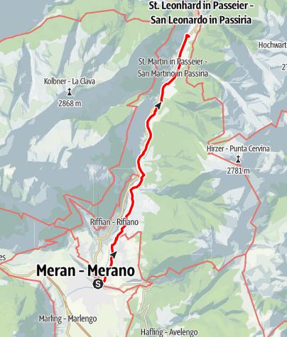 Map / he Andreas Hofer Trail from Merano/Meran until San Leonardo/St. Leonhard