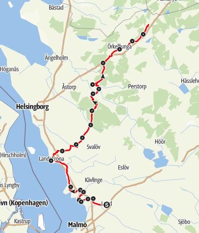 Karta / Birgittavägen, Lund till Vadstena