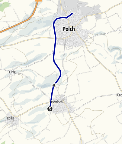 Karte / Maifeld Radroute (Polch - Mertloch und zurück)