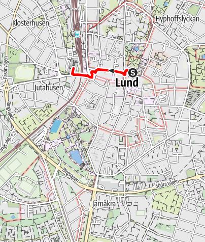 Karta / Birgittavägen, Lunds domkyrka - Klosterkyrkan i Lund