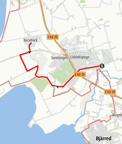 Map / Birgittavägen, Lund till Vadstena, Löddeköpinge-Barsebäck