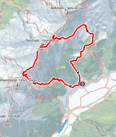 Map / From Kematen to the Flatschspitze summit